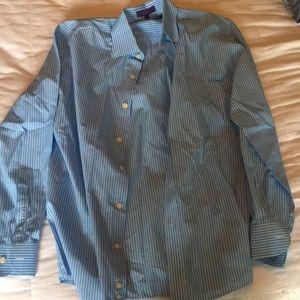 Alan Flusser blue size small dress shirt